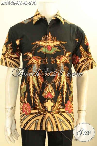 Baju Batik Pria Muda, Busana Batik Kerja Nan Modis Bahan Halus Model Lengan Pendek Motif Keren Tulis Soga, Cocok Juga Untuk Kondangan [LD11423TS-M]