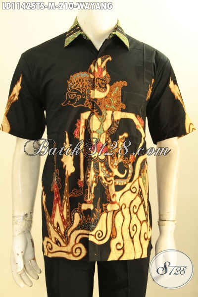 Baju Batik Hem Lengn Pendek Motif Wayang, Busana Batik Solo Modis Masa Kini Kwalitas Bagus Bahan Adem Proses Tulis Soga Hanya 210 Ribu Saja Tampl Makin Sempurna
