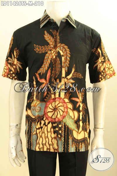 Model Baju Batik Solo Pria Lengan Pendek Tebaru, Busana Batik Modis Masa Kini Kwalitas Bagus Bahan Adem Motif Terbaru Tulis Soga, Tampil Keren Dan Kekinian