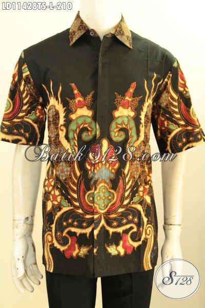 Baju Batik Tulis Soga Halus Lengan Pendek, Pakaian Batik Modern Motif Unik Kwalitas Bagus, Pilihan Tepat Untuk Tampil Gagah Mempesona