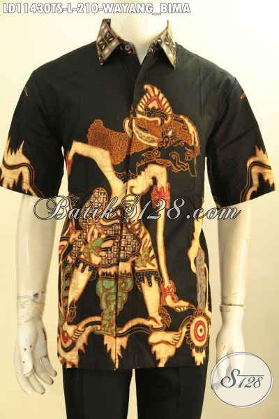 Sedia Baju Batik Solo Lengan Pendek Halus Kwalitas Istimewa, Pakaian Batik Modis Motif Wayang Bima Proses Tulis Soga, Penampilan Terlihat Gagah