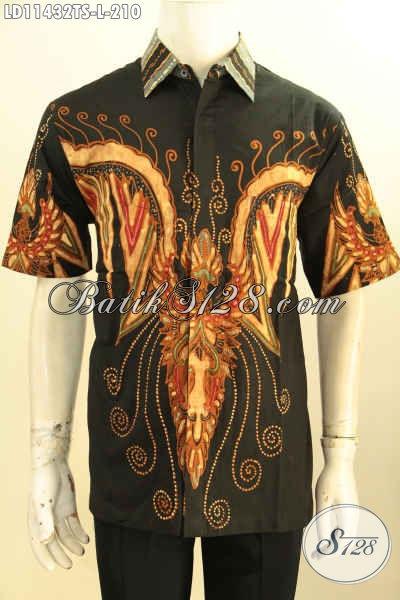 Batik Kemeja Solo Keren Lengan Pendek Bahan Adem Proses Tulis Soga Motif Trendy, Busana Batik Berkelas Warna Hitam Penampilan Lebih Elegan