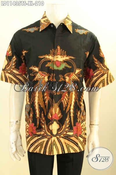 Model Baju Batik Solo Lengan Pendek Motif Keren, Busana Batik Modis Motif Bagus Tulis Soga, Pas Banget Untuk Kerja Kantoran