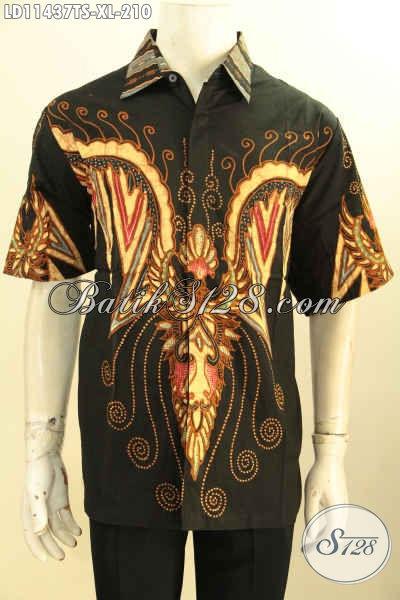 Jual Baju Batik Keren Lengan Pendek Motif Unik, Busana Batik Tulis Soga Dengan Pewarna Alami Yang Ramah Lingkungan, Cocok Untuk Kerja Atau Hangout