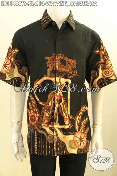 Batik Kemeja Lengan Pendek Solo Asli, Pakaian Batik Modis Motif Wayang Untuk Lelaki Dewasa Size XL Proses Tulis Soga, Tampil Gagah Keren