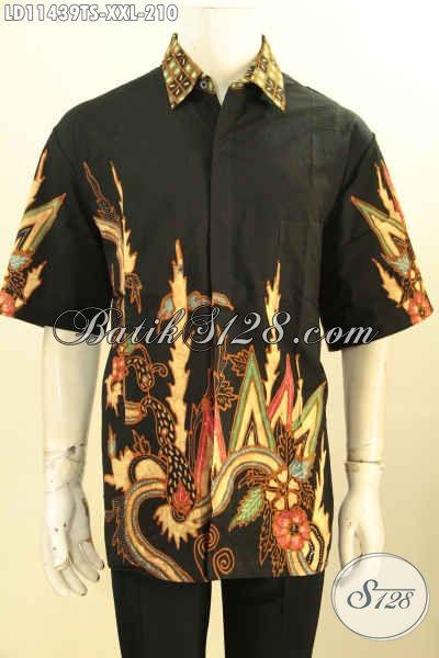 Baju Batik Atasan Untuk Pria Model Lengan Pendek Big Size, Busana Batik Pria Gemuk Nan Trendy Bahan Halus Kwalitas Istimewa Proses Tulis Soga, Cocok Banget Buat Ngantor