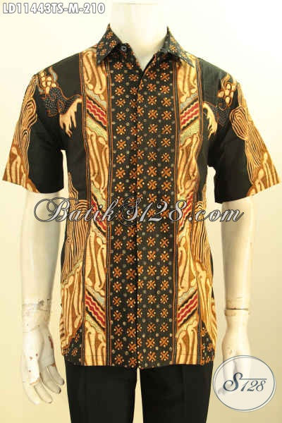 Batik Hem Halus Elegan Mewah Model Lengan Pendek, Baju Batik Solo Tulis Soga Nan Berkelas, Eksklusif Untuk Pria Muda Yang Ingin Tampil Berwibawa