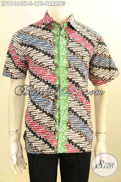 Baju Batik Trendy Motif Parang Klasik, Busana Batik Solo Terbaru Kwalitas Bagus Lengan Pendek, Cocok Untuk Acara Resmi Tampil Beda
