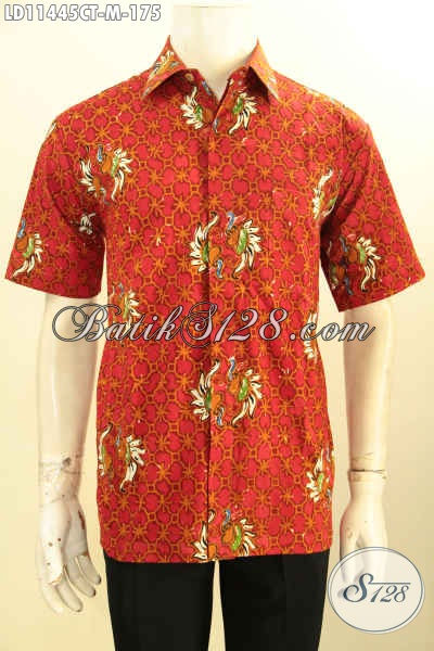 Baju Batik Keren Warna Merah Lengan Pendek Motif Bagus Kwalitas Istimewa, Busana Batik Cap Tulis Untuk Lelaki Muda Tampil Beda Dan Gaya