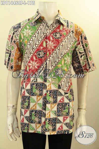 Kemeja Batik Keren Masa Kini, Hem Batik Kerja Nan Modis Motif Bagus Dan Elegan Proses Cap Tulis, Pas Untuk Acara Resmi