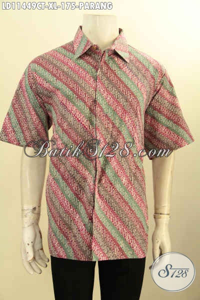 Baju Batik Pria Motif Parang Size XL, Busana Batik Kemeja Lengan Pendek Solo Asli Proses Cap Tulis, Pas Banget Untuk Acara Resmi [LD11449CT-XL]