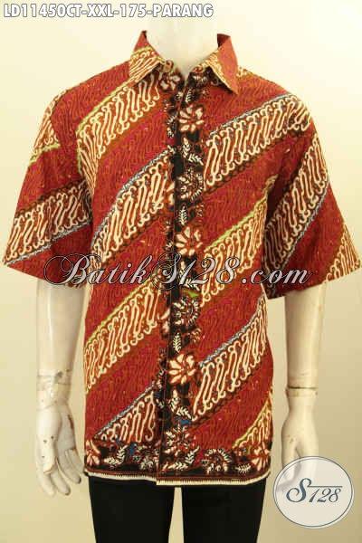 Batik Kemeja Pria Gemuk XXL, Hem Batik Big Size Lengan Pendek Halus Desain Modis Bahan Halus Untuk Penampilan Gagah Menawan
