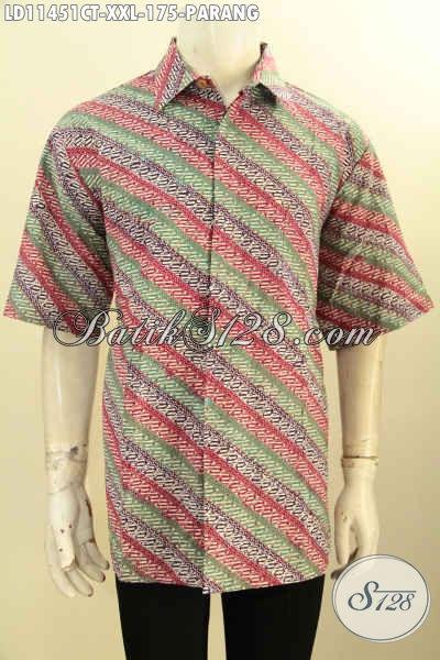 Jual Baju Batik Online Masa Kini, Pakaian Batik Modern Lengan Pendek Jumbo, Baju Batik Pria Gemuk Nan Modis Kwalitas Bagus Untuk Acara Resmi Motif Parang Cap Tulis