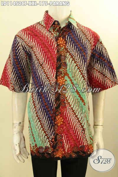 Kemeja Batik Halus Motif Parang, Pakaian Batik Modern Tren Masa Kini Proses Cap Tulis Kwalitas Istimewa, Menunjang Penampilan Lelaki Gemuk Lebih Elegan