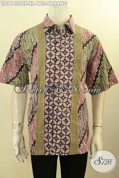 Sedia Online Dan Offline Kemeja  Batik Pria Elegan Lengan Pendek Motif Parang, Baju Batik Berkelas Proses Cap Tulis, Istimewa Untuk Acara Resmi Atau Kondangan