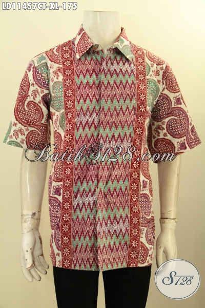 Batik Kemeja Kerja Pria Size XL, Busana Batik Cowok Dewasa Model Lengan Pendek Motif Mewah Kombinasi Tulis Dengan Warna Kekinian, Menunjang Penampilan Ganteng Menawan