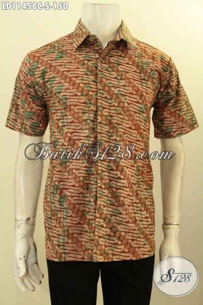 Produk Pakaian Batik Cowok Masa Kini Dengan Desain Keren Berpadu Motif Nan Elegan, Baju Batik Solo Proses Cap Cocok Untuk Acara Santai Atau Resmi [LD11458C-S]