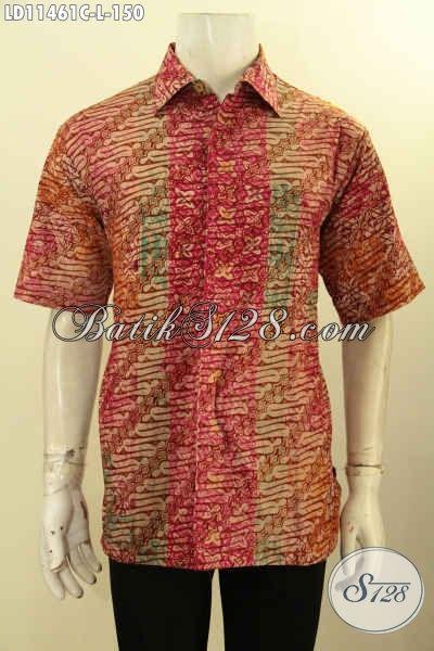 Produk Busana Batik Pria Kantoran, Pakaian Batik Kemeja Terbaru Dengan Motif Elegan Dn Mewah Proses Cap Bahan Halus Yang Nyaman Di Pakai, Penampilan Terlihat Gagah Dan Berkelas [LD11461C-L]