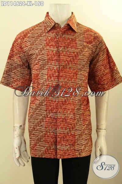 Jual Kemeja Batik Solo Masa Kini, Pakaian Batik Modis Lengan Pendek Halus Motif Klasik ELegan Proses Cap, Pilihan Tepat Untuk Tampil Gagah Dan Tampan