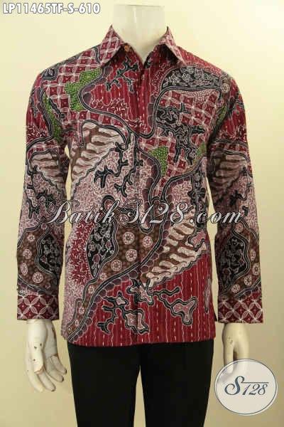 Baju Batik Premium Nan Mewah Khas Jawa Tengah, Kemeja Batik Lengan Panjang Tulis Asli Daleman Full Furing Motif Bagus, Bikin Penampilan Mempesona