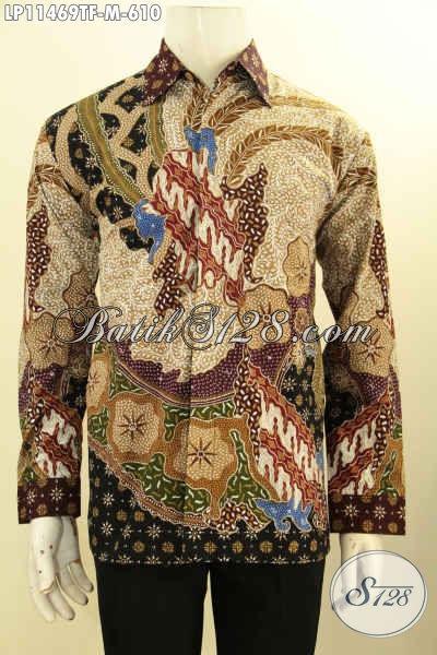 Busana Batik Mewah Pria Muda Size M, Baju Batik Lengan Panjang Premium Full Furing Bahan Adem Motif Klasik Tulis Asli, Istimewa Untuk Acara Resmi Tampil Berwibawa