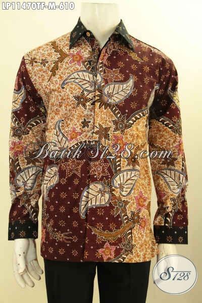 Kemeja Batik Kerja Mewah Halus Motif Bagus Proses Tulis, Pakaian Batik Premium Terbaru Untuk Pria Muda Tampil Tampan Mempesona, Cocok Juga Untuk Kondangan