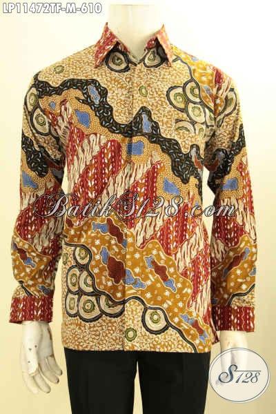 Busana Batik Formal Nan Mewah, Kemeja Batik Pria Lengan Panjang Full Furing Bahan Adem Motif Bagus Proses Tulis, Elegan Untuk Rapat Atau Kondangan