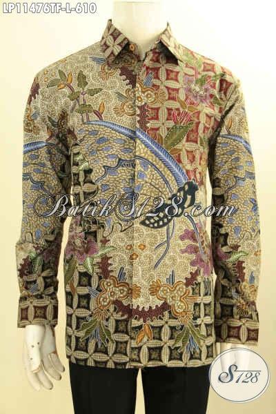 Model Busana Batik Pria Terbaik Saat Ini, Kemeja Lengan Panjang Mewah Motif Tulis Asli Nan Berkelas, Pakaian Batik Premium Full Furing Penampilan Lebih Percaya Diri