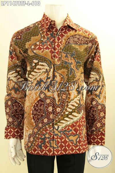 Koleksi Produk Busana Batik Pria Terkini, Hem Batik Mewah Jawa Tengah Model Lengan Panjang Pakai Furing, Busana Batik Tulis Asli Motif Elegan Klasik, Tampil Gagah Menawan