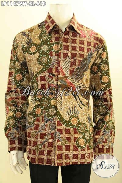 Batik Kemeja Kerja Nan Mewah Size XL, Busana Batik Pria Dewasa Lengan Panjang Motif Elegan Proses Tulis Daleman Pakai Furing, Penampilan Lebih Gagah Menawan