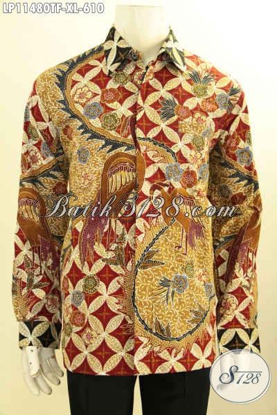 Baju Kemeja Batik Mewah Lengan Panjang Full Furing, Busana Batik Nan Berkelas Motif Bagus Tulis Asli, Istimewa Untuk Kondangan Dan Seragam Kerja