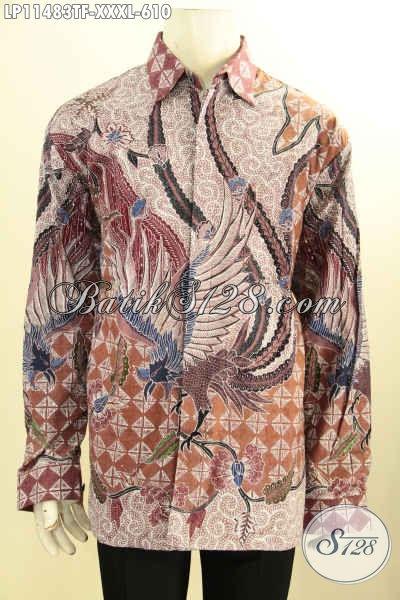 Busana Batik Pria Gemuk Sekali Nan Mewah, Baju Batik Premium Khas Solo Bahan Adem Motif Klasik Tulis Asli Model Lengan Panjang Full Furing, Penampilan Lebih Berwibawa