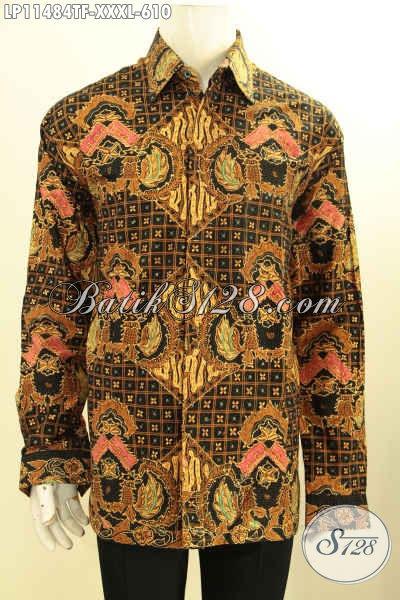 Baju Kemeja Batik Solo Premium Lengan Panjang Ukuran XXXL, Busana Batik Mewah Pria Gemuk Sekali Daleman Pakai Furing Motif Terkini Tulis Asli, Pas Untuk Acara Resmi