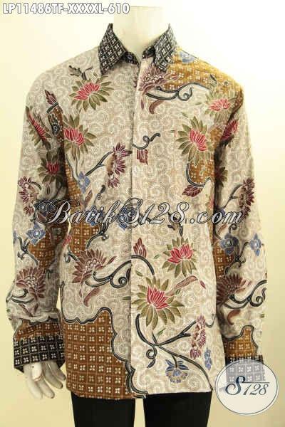 Kemeja Batik Solo Mewah Premium Desain Berkelas Motif Bagus Bahan Halus, Busana Batik Lengan Panjang Pria Gemuk Sekali Daleman Full Furing, Penampilan Terlihaty Sempurna