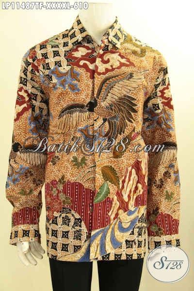 Baju Batik Kerja Pria Gemuk Size XXXXL, Hem Batik Solo Premium Halus Full Furing Kwalitas Istimewa Motif Elegan Klasik Tulis Asli Harga 600 Ribuan