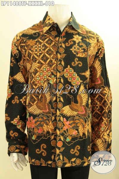 Model Baju Batik Solo Mewah Lengan Panjang Full Furing, Pakaian Batik Elegan Motif Klasik Tulis Asli Eksklusif Untuk Pria Berbadan Gemuk Sekali [LP11488TF-XXXXL]