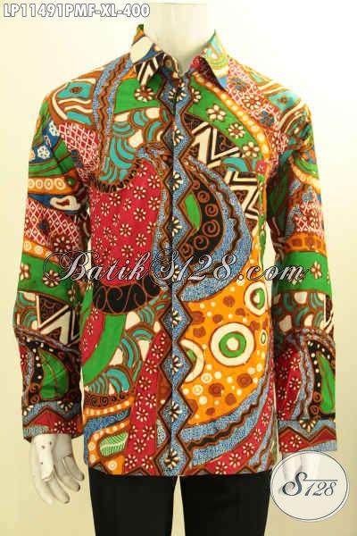 Baju Batik Pria Size XL Yang Modis Untuk Pesta Serta Trendy Buat Hangout, Kemeja Batik Motif Modern Lengan Panjang Full Furing Proses Kombinasi Tulis Harga 400K