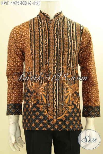 Kemeja Batik Pria Kerah Shanghai Na Elegan, Baju Batik Motif Klasik Lengan Panjang Bahan Halus Nyaman Di Pakai, Penampilan Gagah Menawan