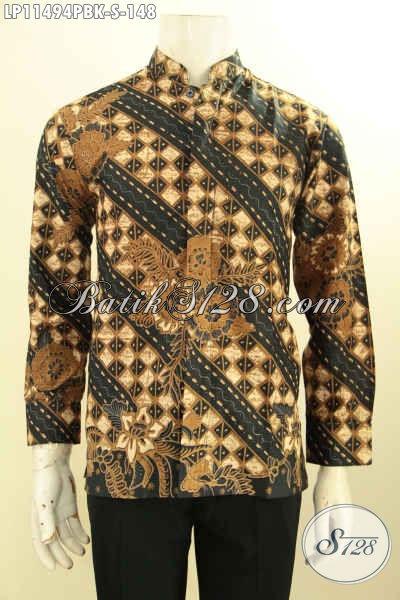 Hem Batik Koko Lengan Panjang Nan Berkelas, Pakaian  Batik Halus Kerah Shanghai Motif Klasik Printing Cabut, Penampilan Lebih Berkelas