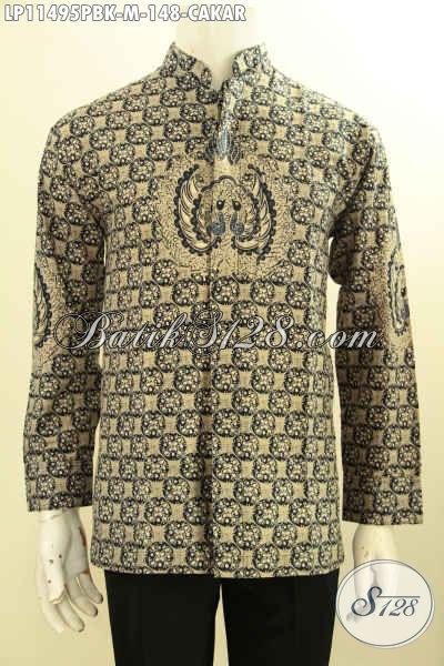 Model Baju Batik Koko Lengan Panjang Nan Elegan, Busana Batik Elegan Kekinian Bahan Halus Motif Cakar Proses Printing Cabut, Penampilan Terlihat Berwibawa