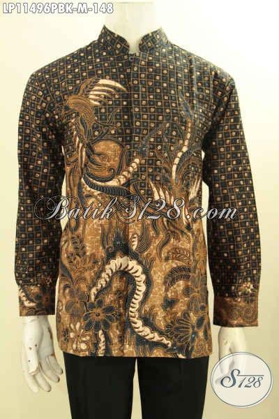 Baju Kemeja Batik Lengan Panjang Kwalitas Bagus, Hem Batik Kerah Shanghai Nan Istimewa Motif Klasik Printing Cabut Bahan Halus, Pas Untuk Acara Formal