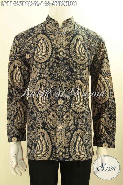 Busana Batik Pria Nan Elegan Motif Klasik Srikaton, Baju Batik Mewah Lengan Panjang Desain Kerah Shanghai Bahan Adem Nyaman Di Pakai, Penampilan Lebih Berkelas