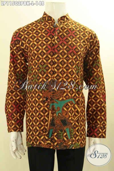 Toko Baju Batik Paling Komplit,Sedia Online Hem Kerah Shanghai Lengan Panjang Motif Wayang, Pakaian Batik Koko Proses Printing Cabut Bahan Adem, Cocok Banget Untuk Acara Formal