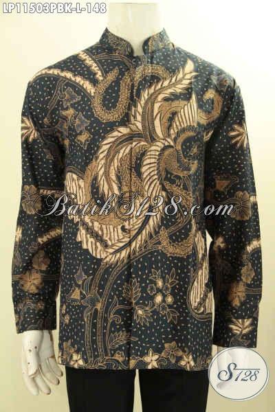 Batik Kemeja Solo Nan Elegan Ukuran L, Pakaian Batik Nan Berkelas Bahan Halus Motif Klasik Printing Cabut Desain Koko Kerah Shanghai, Cowok Tampil Lebih Berkelas
