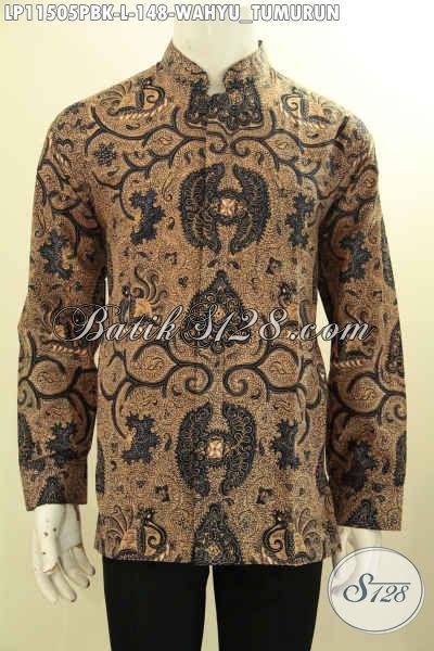 Hem Batik Koko Motif Klasik Wahyu Tumurun, Busana Batik Elegan Lengan Panjang Bahan Halus Model Kerah Shanghai, Bisa Buat Ngantor Dan Kondangan