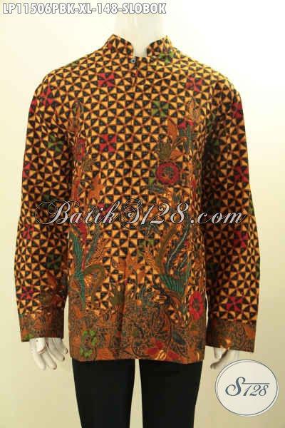 Kemeja Batik Pria Motif Slobok, Busana Batik Printing Lengan Panjang Model Kerah Shanghai Bahan Halus Kwalitas Istimewa Harga 100 Ribuan Saja