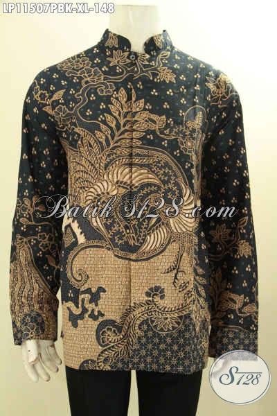 Busana Batik Kerah Shanghai Lengan Panjang Size XL, Pakaian Batik Elegan Dan Berkelas Proses Printing Motif Klasik, Istimewa Untuk Acara Formal Tampil Berkelas