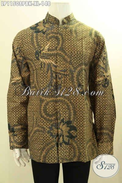 Batik Kemeja Kerja Lengan Panjang Elegan Desain Kerah Shanghai, Pakaian Batik Koko Batik Printing Motif Cabut Yang Membuat Penampilan Gagah Berkelas