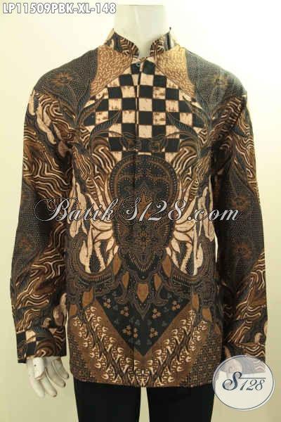 Kemeja Batik Koko Kerah Shanghai Lengan Panjang Ukuran XL, Pakaian Batik Elegan Motif Klasik Bahan Halus Proses Printing Cabut, Tampil Elegan Dan Berkelas