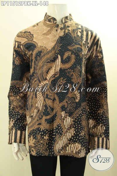 Kemeja Batik Elegan Terbaru Model Kerah Shanghai, Busana Batik Pria Masa Kini Motif Klasik Nan Elegan Proses Printing Cabut, Pas Buat Kondangan [LP11512PBK-XL]